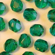 6mm Fire Polished, Emerald - 25